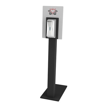 Sanitizer Stand - Heart & Hands Display w/ Automatic Stainless Steel Dispenser