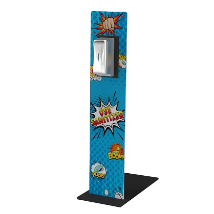 Sanitizer Stand - Full Graphic Display w/ Stainless Steel Dispenser (Kids Comics)