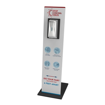 Sanitizer Stand - Graphic Display includes Stainless Steel Sanitizer Dispenser