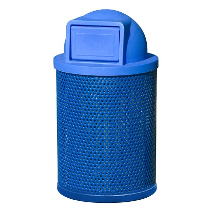 36 Gallon Round Perforated Steel Recycling Receptacle with Dome Lid