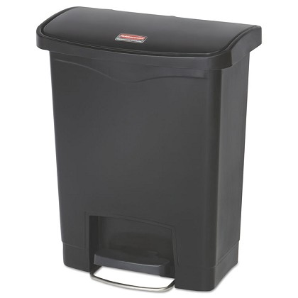 8 Gallon Step-on Slim Jim in Black