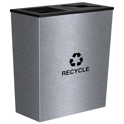 Metro Double-Stream Waste & Recycling Bin in Stainless Steel